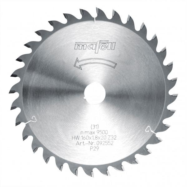 Sägeblatt-HM 160 x 1,2/1,8 x 20 mm, Z 32, WZ, für Feinschnitte in Holz