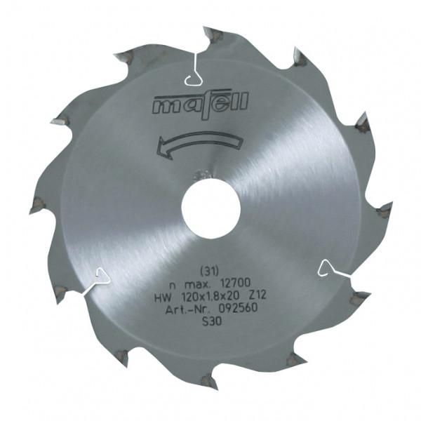 Sägeblatt-HM 120 x 1,2/1,8 x 20 mm, Z 12, WZ, für Längsschnitte in Holz